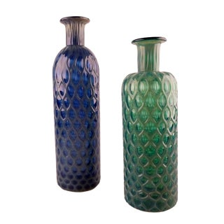 Green & Blue Handblown Glass Vases - A Pair