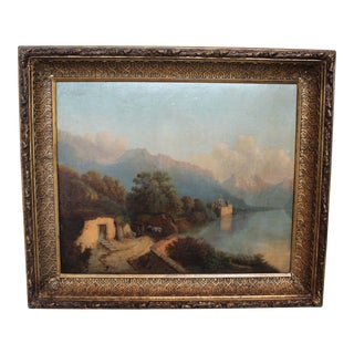 Antique Lake Geneva Oil Painting