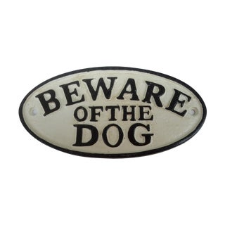 """Cast Iron Hand Painted """"Beware of Dog"""" Sign"""