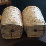 Image of Rattan Basket Lamps With Brass Accents - a Pair