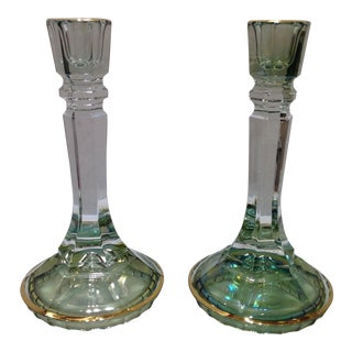 Green Ombré Leaded Crystal Candlesticks - A Pair