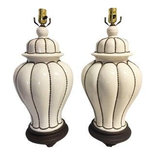 Brown and White Ginger Jar Lamps - Pair