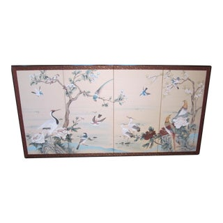 Asian Hand Painted Chinoiserie 4 Panel Folding Screen