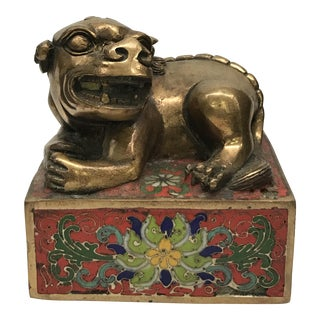 Chinese Foo Dog Bronze & Cloisonné Seal