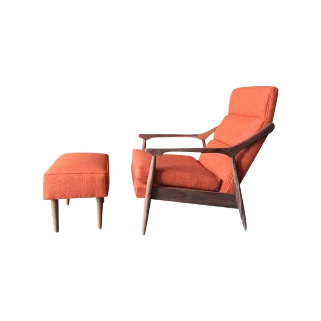 Custom Mid Century Lounge Chair With Ottoman - Image 1 of 6