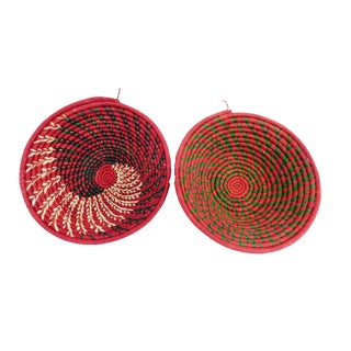 Red & Beige Burundi Baskets - A Pair