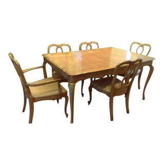 French Provincial Dining Room Table with Leaf and 6 Chairs