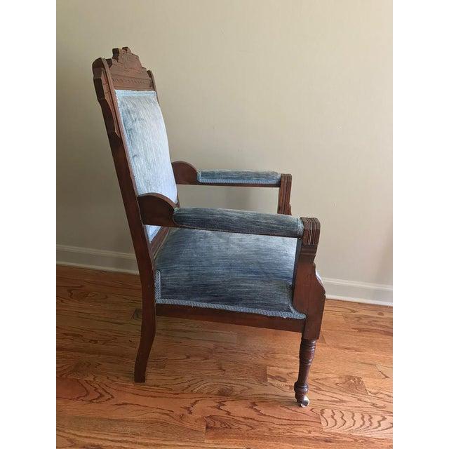 Blue Velvet Eastlake Chair - Image 4 of 9