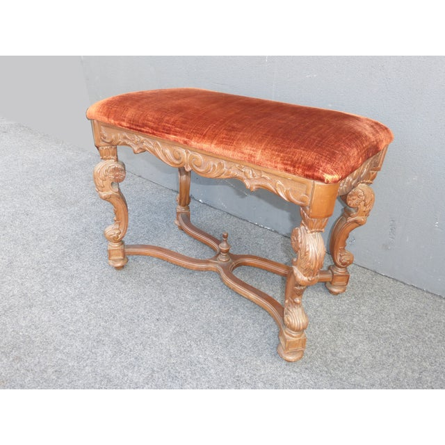 Antique Ornate Carved Orange Velvet Bench - Image 3 of 10