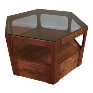Brown Saltman Hexagonal Walnut & Glass Table