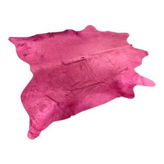 Pink Cowhide Rug - 7′ × 7′6″