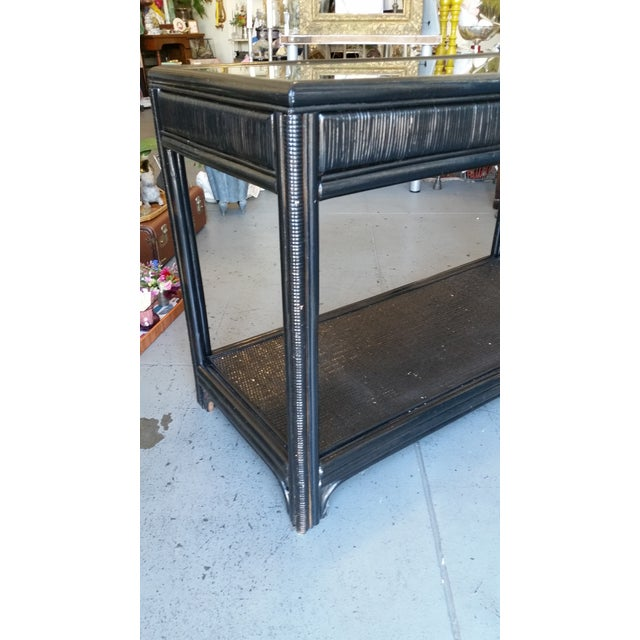 Vintage Glass Top Rattan Console Table - Image 5 of 10