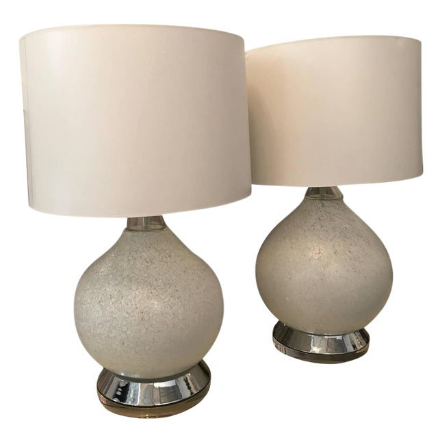 Image of Pair of White Murano Glass and Chrome Table Lamps with Lucite bases by Vistosi of Italy