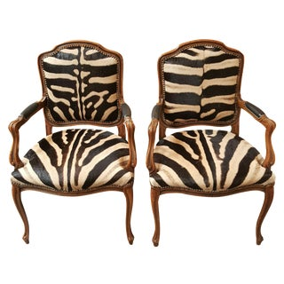 Pair French Zebra Covered Chairs