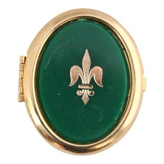 Vintage Fleur-De-Lis Green Trinket Box