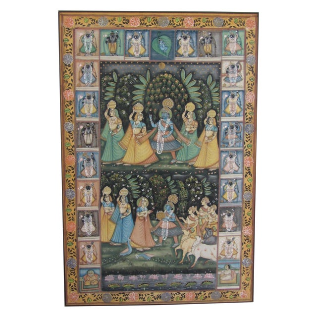 Vintage Hand Painted Indian Silk Tapestry - Image 1 of 8