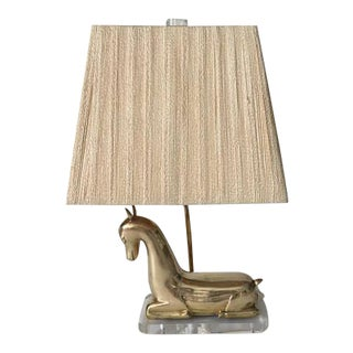 Mid-Century Lucite and Brass Lamp