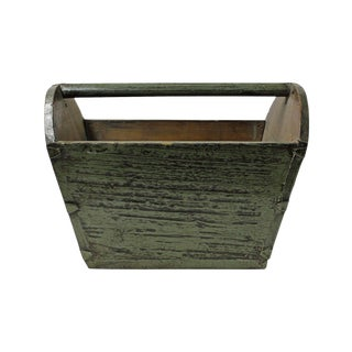 Traditional Chinese Gray Lacquer Wood Bucket