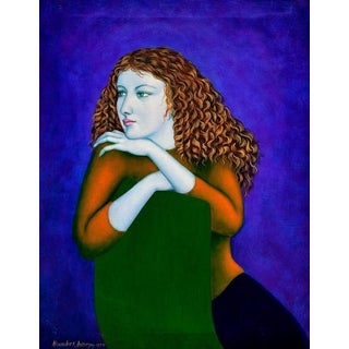 """Alexander E. Anderson """"Girl In Lavender"""" Oil Painting"""