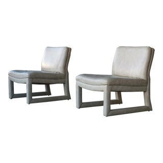 Michael Taylor for Baker Leather Lounge Chairs - A Pair