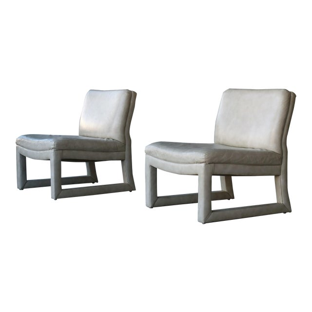 Image of Michael Taylor for Baker Leather Lounge Chairs - A Pair
