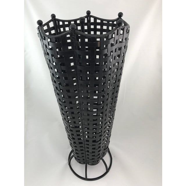 Woven Wrought Iron Umbrella Stand - Image 4 of 7