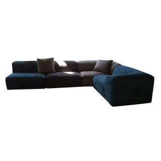 Bontempi Grand Blue Suede Sectional