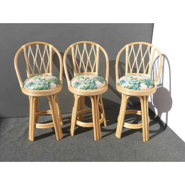 Mid-Century Faux Bamboo Bar Stools - Set of 3 - Image 2 of 11