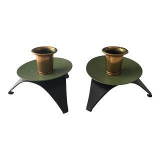 Mid-Century Green & Brass Candleholders - a Pair