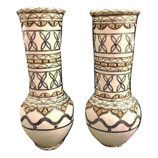 Moroccan Ceramic Hand-Painted Vases With Camel Bone - A Pair