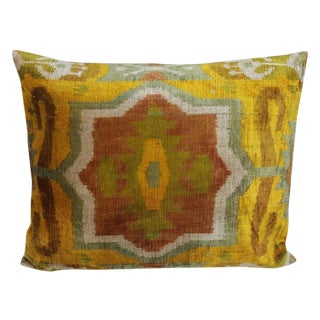 Vintage Silk Velvet Ikat Pillow From Dubai