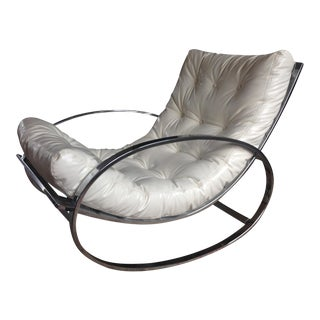 Selig Chrome & Leatherette Tufted Rocking Chair