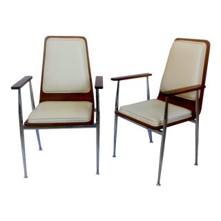 Mid-Century Modern Plywood Arm Chairs - A Pair