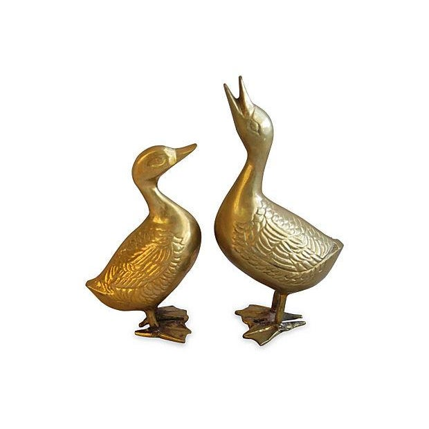 Image of Mid-Century 1960s Brass Geese - A Pair