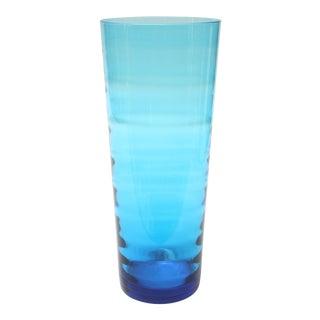 Large Blue Cylindrical Optic Vase by Blenko