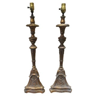 Carved & Gilt Pricket Lamps - A Pair