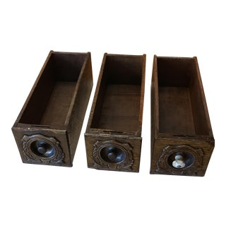 Restored Sewing Machine Cabinet Storage Drawers, 1920s - Set of 3