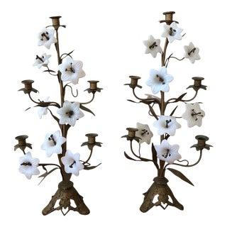 Bronze & Milk Glass Dore Candelabras - A Pair