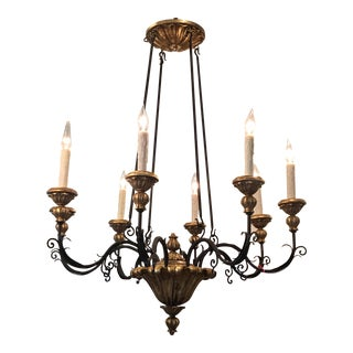 Randy Esada Designs Italian Gilt Wood & Iron Chandelier