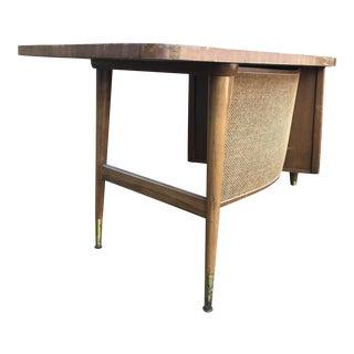 Mid-Century Rattan Overlay Desk