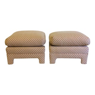 Oversized Parsons-Style Ottomans With Loose Cushion - Pair