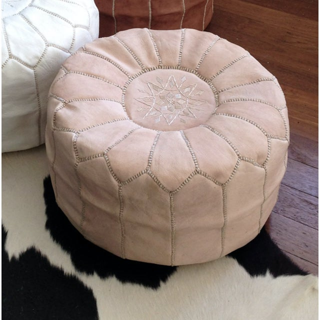 Image of Off-White Moroccan Leather Pouf