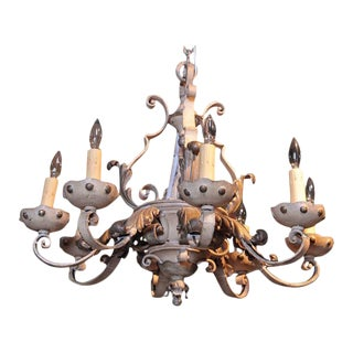 19th Century French Painted & Gilt Eight-Light Wrought Iron Chandelier