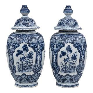 Pair of Dutch Delft Knobbed Vases, Circa 1850