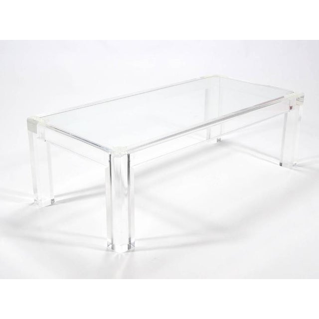 World Class Elegant Lucite And Glass Coffee Table Decaso