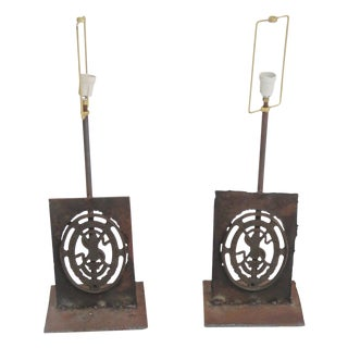 Pair Wrought Iron Table Lamps mann. Paul Evans