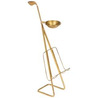 French Mid-Century Brass Ashtray Magazine Stand
