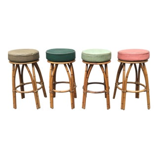 Heywood Wakefield Bamboo Barstools - Set of 4