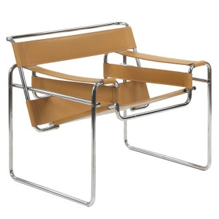 """Leather and Chrome """"Wassily"""" Style Lounge Chair"""
