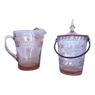 Pink Depression Glass Pitcher and Ice Bucket
